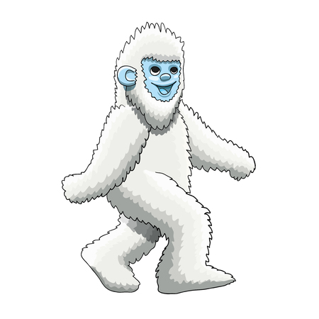 Furry Yeti mascot cartoon character design, vector EPS10 Illustration