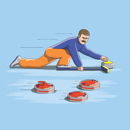 Funny curling competition with vacuum cleaners, vector EPS10 Illustration