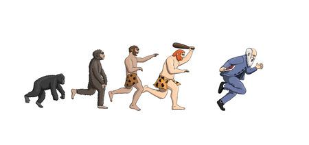 Cartoon evolution theory, progression of man mankind, Darwin was wrong Illustration