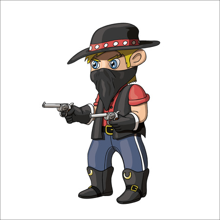 An illustration of a young americancowboy bandit standing and holding guns