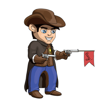 An illustration of a young american cowboy sheriff standing and holding guns Illustration