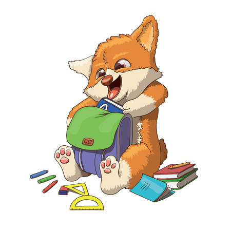 Welsh corgi cardigan dog puppy cartoon character illustration going to school