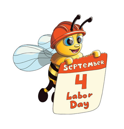 Illustration of a Cute Smiling Bee character with Labor Day poster Illustration
