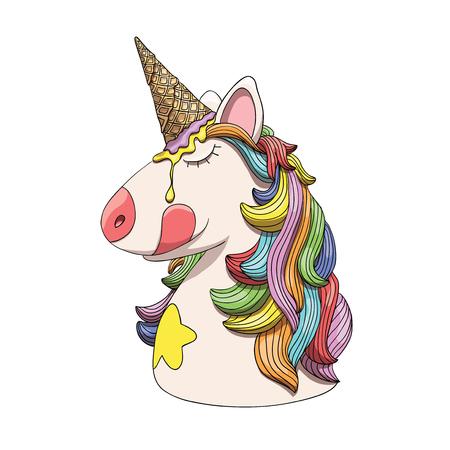 Retrato de cabeça de personagem unicórnio, animal de fantasia com cabelo de arco-íris e chifre de cone de sorvete
