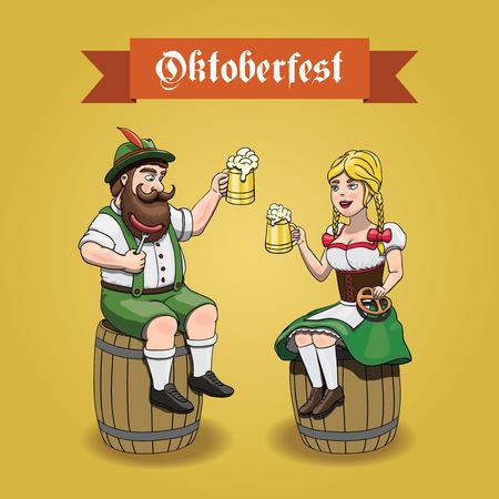 pretzel: Cartoon Bavarian man and woman with beer, sausage and pretzel sitting on a beer barrels. Oktoberfest illustration