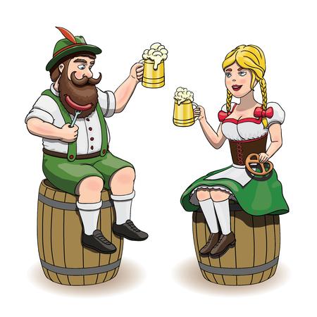 ビール、ソーセージ、プレッツェルを持つ漫画のバイエルン男性と女性がビール樽に座っています。オクトーバーフェストイラスト、白背景に EPS 10