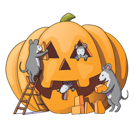 Cute mice characters prepare for Halloween. Sly gray mouse, rat. pumpkin. Drawing by hand, isolated on white background. Vector illustration Illustration