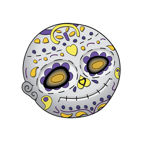 Day of the dead illustration with festive skull, flowers decoration.