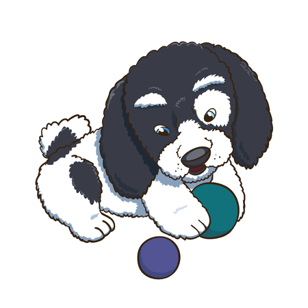 Ð¡ute puppy plaing with his toy balls. Cartoon vector character illustration Illustration