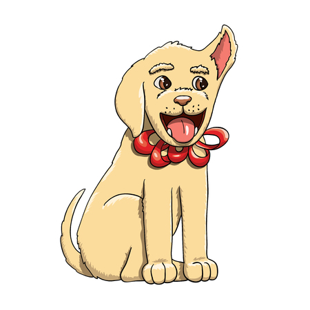 Happy Labrador Retriever puppy as a present with bow-knot. Graphic vector illustration