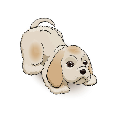 Cocker Spaniel Puppy Cartoon Fluffy Cute Character Playing. Dog Vector Illustration Illustration