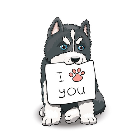 Husky Puppy Sitting Holding I Love You Sign.