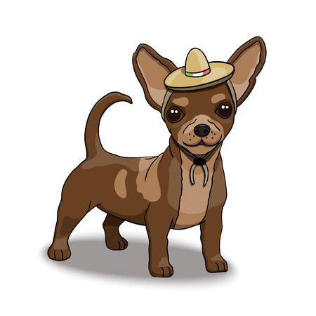 Chihuahua Smiling Cartoon Character Illustration Wearing Mexican Sombrero. Illustration