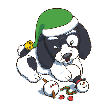 Puppy Wearing a New Year Elf  Hat Plaing with Snowman. Cartoon vector character illustration