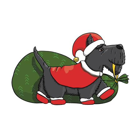 Cartoon Scotch Terrier Santa Character Delivering Presents to Kids for New Year. Graphic vector illustration EPS 10