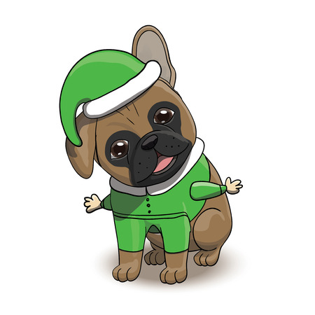 French Bulldog Cartoon Puppy Character Dressed in Santas Elf Costume. Dog Portrait Vector Illustration Illustration