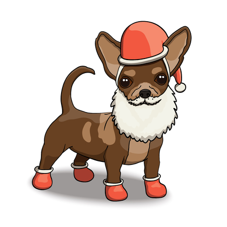 New Year Chihuahua Smiling Cartoon Character Illustration Wearing Santas Costume With Beard Illustration