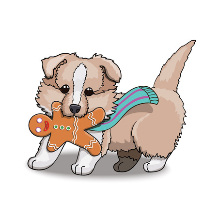 Collie Puppy in Scarf With Gingerbread Man. Cartoon Character Vector Illustration.