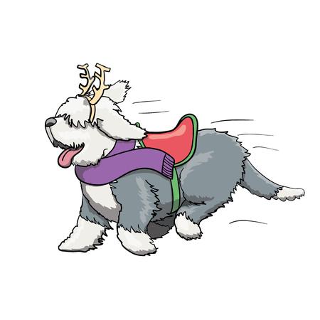 New Year Reindeer Furry English Bobtail Dog Cartoon Character Running. Vector Illustration