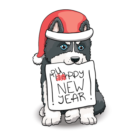 Husky Puppy Sitting Holding Happy New Year Sign. Cartoon Character Illustration