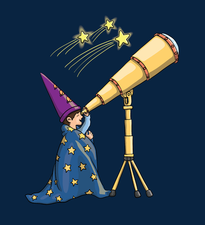 Young Boy Watching Through Telescope, Gazing at Falling Stars, in Astrologist Hat, Covered With a Blanket