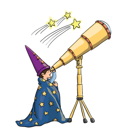Young boy gazing at falling stars through telescope, in astrologist hat, covered with a blanket.