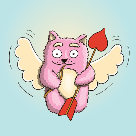 Valentines Day, Valentines Cupid Pink Cat, Flying on the Wings of Love, With Little Bow and Big Arrow Ready for Lovers Heart