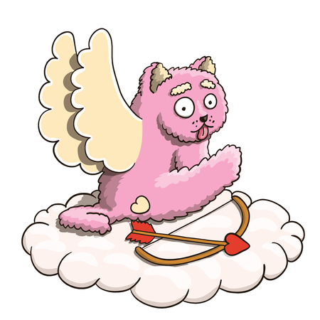 Valentines Day, Cupid Pink Cat Heaving a Break on the Cloud with Cupid Arrow and Bow Vector EPS 10