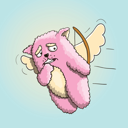 Valentines Day, Funny Cupid Pink Cat, Flying on the Wings of Love, Hit a Different Person, Missed a Shot  Illustration