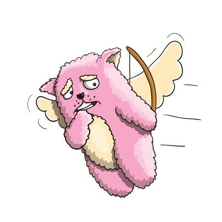 Valentines Day, Funny Cupid Pink Cat, Flying on the Wings of Love, Hit a Different Person, Missed a Shot. White Background Illustration