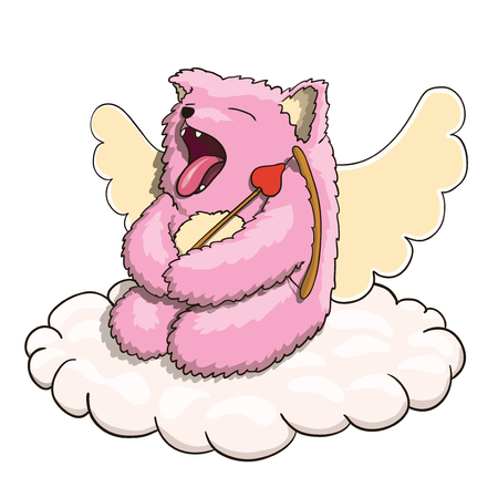 Mythical Yawning Cupid Pink Cat Tired, Resting on the Cloud with Cupid Arrow and Bow.Vector EPS 10 on White Background