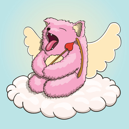 Valentines Day, Mythical Yawning Cupid Pink Cat Tired, Resting on the Cloud with Cupid Arrow and Bow.Vector EPS 10 on White Background