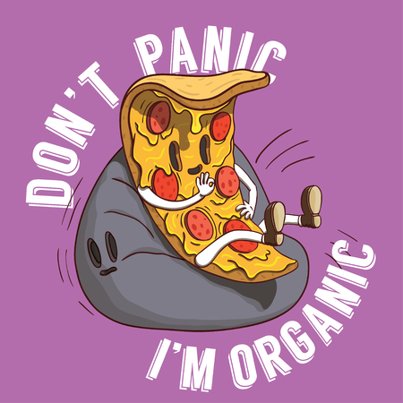 Slice of Pizza Illustration. Piece of Italian Food With Don't Panic it's Organic Slogan on Purple Background.