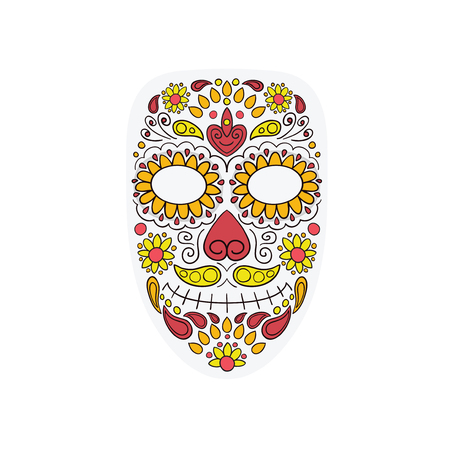 Colorful Skull Mask Day of The Dead With Floral Ornament and Flower Seamless Pattern. Dia de Los Muertos, Colorful Holiday Skull of the Dead