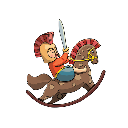 Spartan Kid Warrior on Rocking Horse in Helmet with Spartan Sward. Vector illustration isolated on white.Web Graphics, Banners, Advertisements, Stickers, Labels, T-shirt.