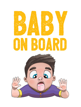 Baby on Board Sign with Child Boy Licking Glass Face on a White Background. Car Sticker With Warning. Vector Illustration.
