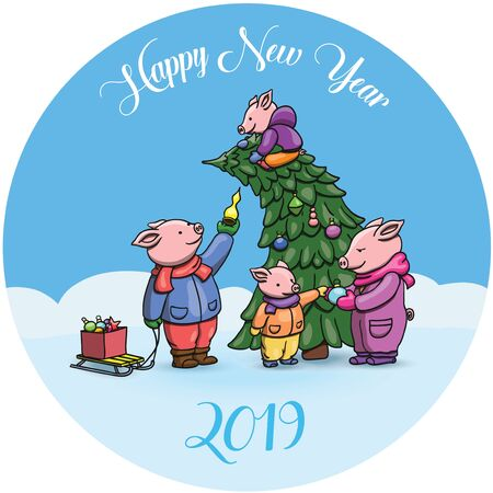Adorable Cartoon Pigs, Symbol of 2019 Chinese New Year. Piglets Cheerfully Celebrating, Decorating the Christmas Tree. Cute Chinese Pig Vector Illustration. With Text Illusztráció