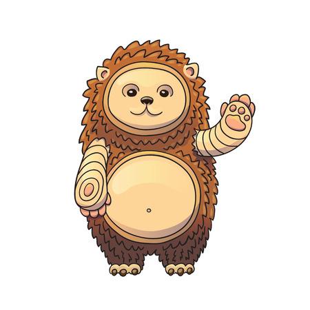 Hedgehog Vector Cartoon Illustration. Adorable Animal Waving His Hand and Smiling. Cute Happy Character.