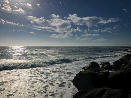 Ocean Surf and Late Afternoon Skies Stock Photo
