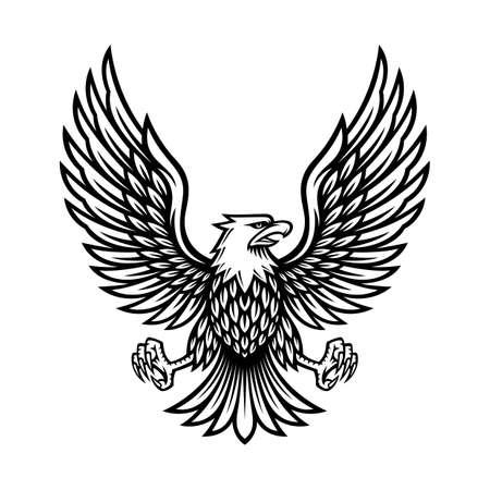 eagle symbol illustration in vintage design Vettoriali