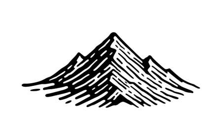 Mountain hills, rocks and peaks. Silhouette icon vector illustration.