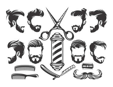 Barber Shop Vector Silhouettes and Icons Set. For Logos, Labels, Badges and Advertising. Scissors Silhouette, Razor Silhouette, Man hairstyle. - vector 矢量图像