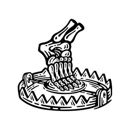 foot trap with leg bones in retro style