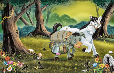 children's story: The Donkey and the horse