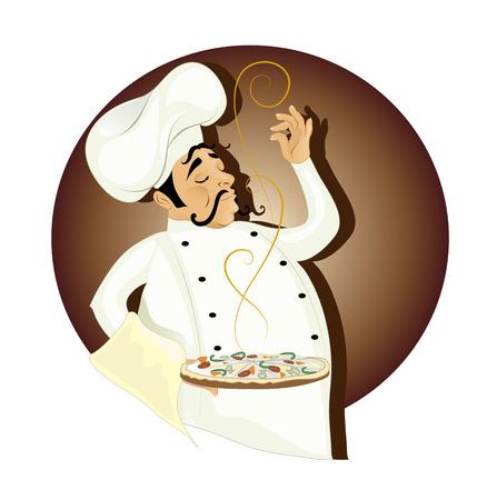 chef italiano: Chef con pizza Vectores