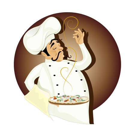 pizza man: Chef with pizza