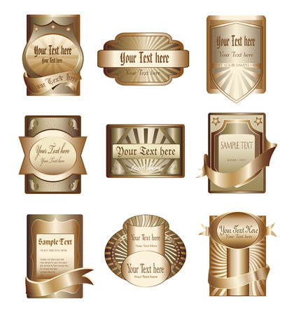 Vector collection of luxury golden labels Vector