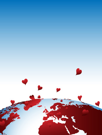 Earth in love background Stock Vector - 6252370
