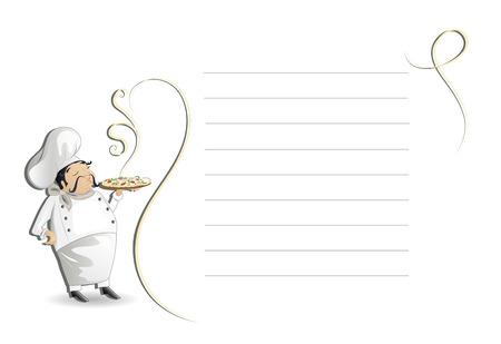 margherita: Chef with note pad,menu