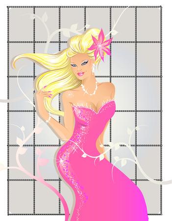 Hermosa mujer en rosa